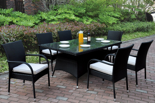EXQUISITE 7PC OUTDOOR PATIO TABLE SET ALUMINUM FINISH