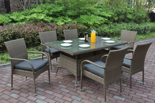 7PCS  CLASSIC WITH MODERN ELEMENTS RECTANGULAR OUTDOOR TABLE SET IN TAN FINISH