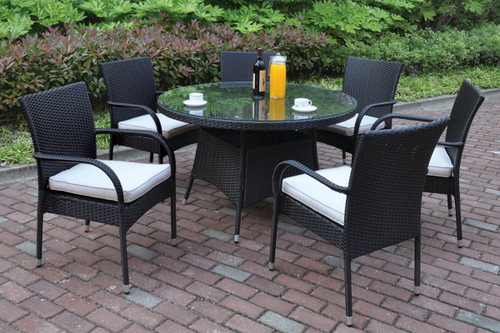 7PCS DARK BROWN OUTDOOR PATIO ROUND TABLE SET