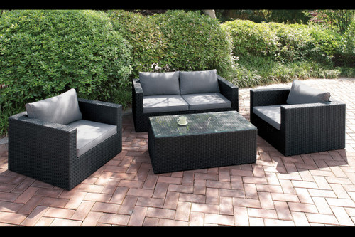 4PC OUTDOOR PATIO SOFA SET DARK BROWN