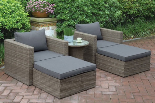 5PC OUTDOOR PATIO SOFA SET TAN RESIN WICKER
