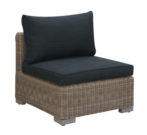OUTDOOR ARMLESS CHAIR TAN RESIN WICKER FINISH WITH BLACK SEAT AND BACK CUSHIONS