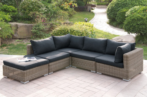 VERSATILE 5PC OUTDOOR PATIO SOFA SET WITH OTTOMAN IN TAN RESIN WICKER FINISH AND BLACK SEAT CUSHIONS