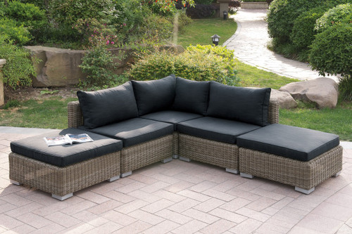 VERSATILE 5PC OUTDOOR PATIO SOFA SETWITH TWO OTTOMAN IN TAN RESIN WICKER FINISH AND BLACK SEAT CUSHIONS