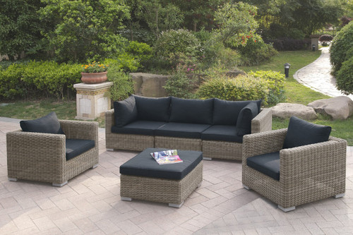 6PC OUTDOOR PATIO SOFA SET IN TAN RESIN WICKER FINISH AND BLACK SEAT CUSHIONS