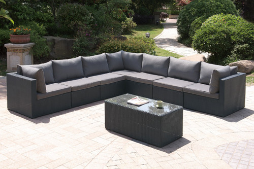 8PC OUTDOOR PATIO SOFA SET IN DARK BROWN RESIN WICKER AND GREY SEAT CUSHIONS