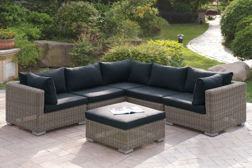 6PC OUTDOOR PATIO SOFA SETIN TAN RESIN WICKER FINISH AND BLACK SEAT CUSHIONS WITH OTTOMAN