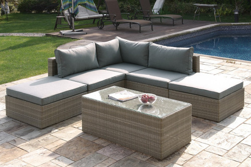 6PC OUTDOOR PATIO SOFA SET WITH OTTOMAN AND COCKTAIL TABLE