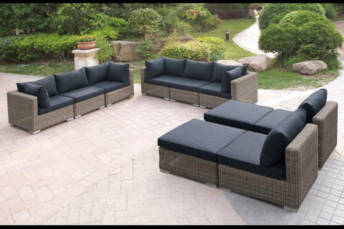 10 PIECE OUTDOOR PATIO SOFA SET IN TAN RESIN WICKER FINISH AND BLACK SEAT CUSHIONS