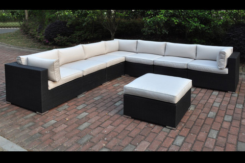 8PC OUTDOOR PATIO SECTIONAL SET IN DARK BROWN RESIN WICKER FINISH AND CREAM SEAT CUSHIONS