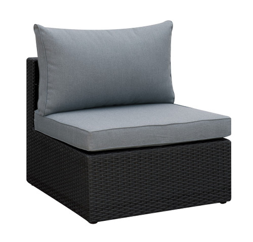 OUTDOOR ARMLESS CHAIR IN DARK BROWN RESIN WICKER AND GREY SEAT AND BACK CUSHIONS