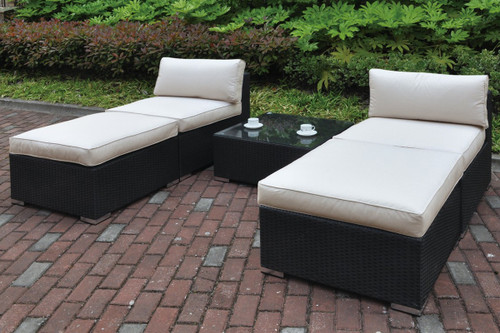 5PC OUTDOOR PATIO SOFA SET IN DARK BROWN RESIN WICKER AND CREAM SEAT CUSHIONS