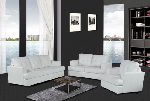 HUNTER WHITE SOFA LOVESEAT WITH CHAIR 3 PCS Set - F15