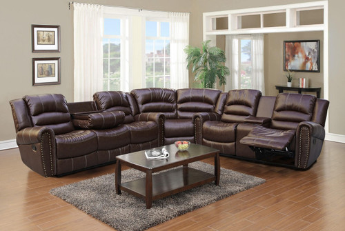 Brayden 3PC Sofa Loveseat and Wedge With Recliner & Drop Table Set - GS4070