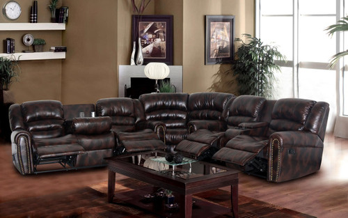 Daniel 3PC Sofa Loveseat and Wedge With Recliner & Drop Table Set - GS4000