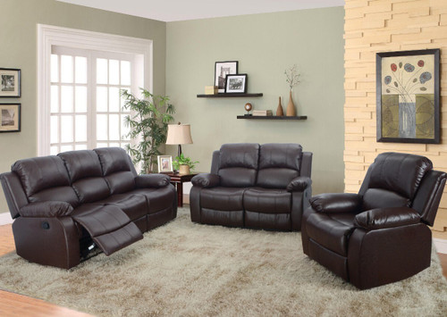 Luis 3PC Sofa Loveseat With Recliner & Drop Table Set - GS2900