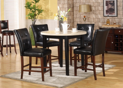 GIOVANNI COUNTER HEIGHT TABLE BAR STOOL 5 PC Set - L1007W-T