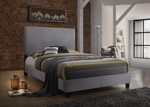 DELORA Queen Size Bed in Gray