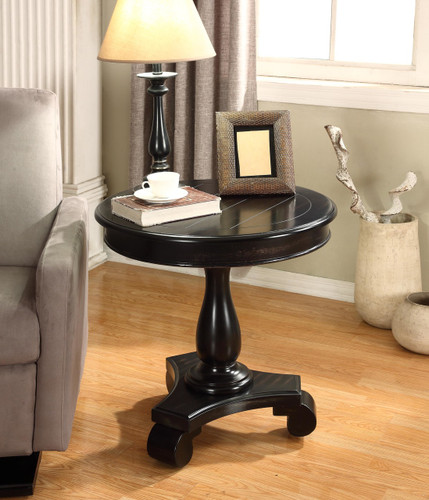 CONSTANCE ROUND END TABLE-BLACK -7167-BK