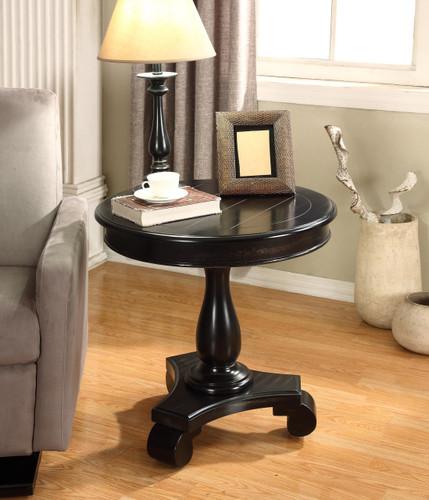 CONSTANCE ROUND END TABLE-BLACK -7167-BK