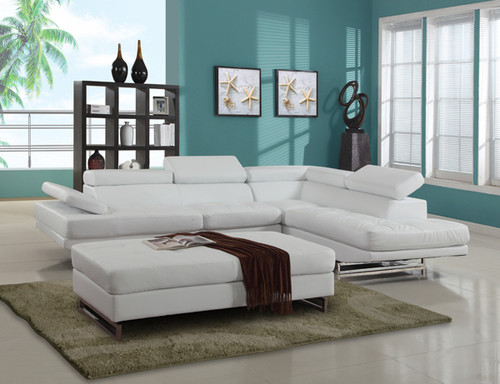 CONTEMPORARY SECTIONAL SET U8136 IN WHITE LEATHER