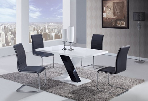CONTEMPORAY 5 PIECE D490 DINING SET - BLACK