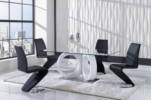 MODERN 5 PIECE D9002 DINING SET -WHITE/BLACK