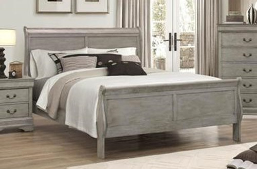 LP SLEIGH BED WITH MATTRESS AND BOXSPRING IN GREY