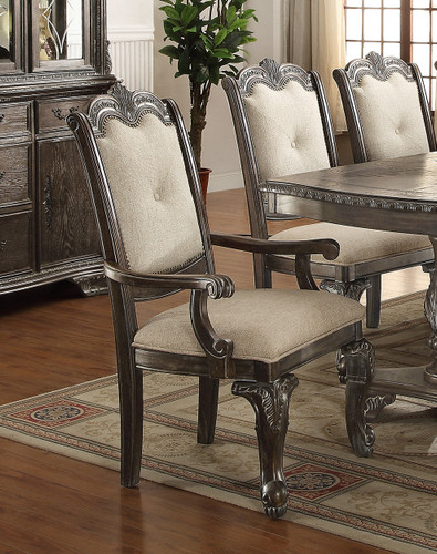 KIERA ARM CHAIR GREY 2 PCS SET-2151A-GY