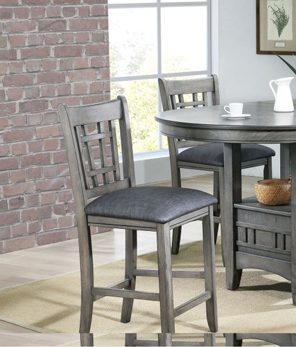 """EMPIRE COUNTER HEIGHT CHAIR 24"""" H GREY 2 PCS SET-2185S/GY"""