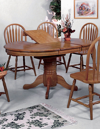 OVAL SOLID TOP BUTTERFLY LEAF TABLE-1052D/OAK