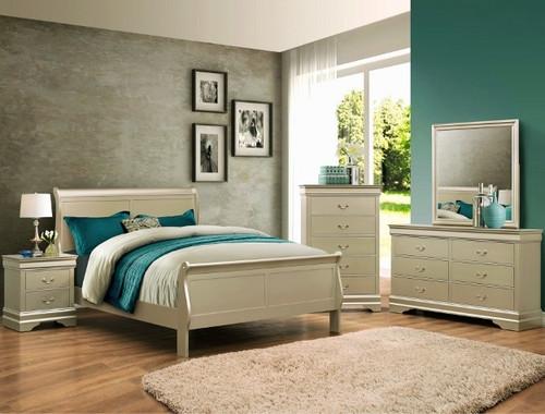 7PCS LOUIS PHILLIP BEDROOM SET IN CHAMPAGNE
