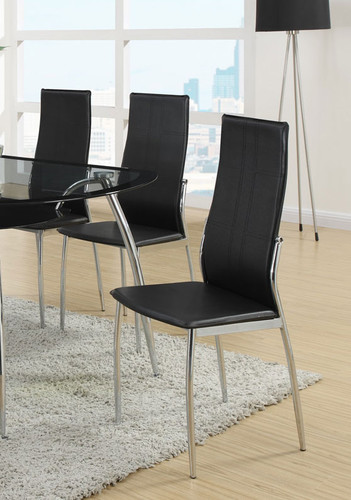 MODERN STYLE DINING CHAIR BLACK 2 PCS SET-F1277