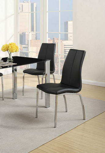 BLACK MODERN DINING CHAIR 2 PCS SET-F1578