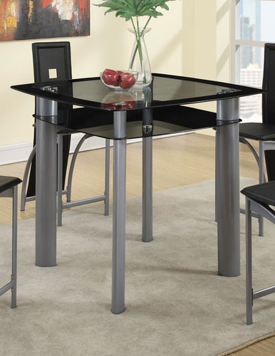 BLACK PAINTED GLASS COUNTER HEIGHT TABLE-F2224