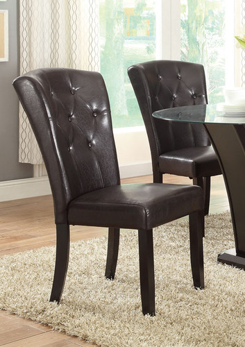 DARK ESPRESSO FAUX LEATHER DINING CHAIR 2 PCS SET-F1356