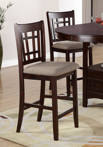 LOVELY WOOD FINISH COUNTER HEIGHT CHAIR 2 PCS SET-F1205/L