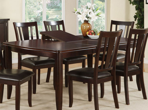 DEEP BROWN WOOD FINISH DINING TABLE-F2179