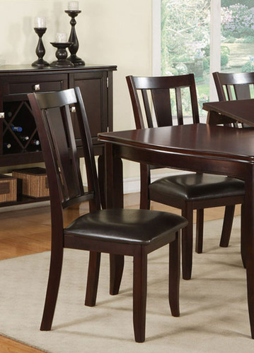DEEP BROWN WOOD FINISH DINING CHAIR 2 PCS SET-F1285