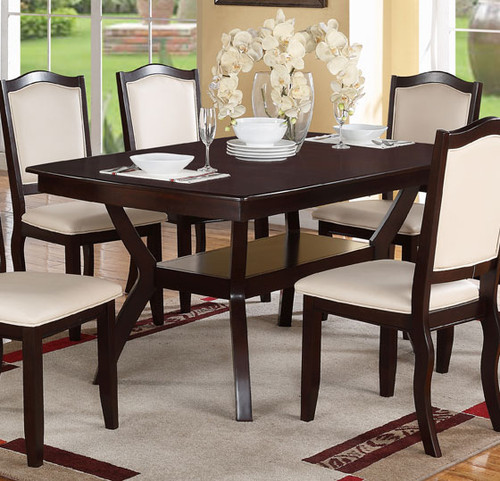 RECTANGULAR SHAPED BROWN WOOD DINING TABLE-F2290