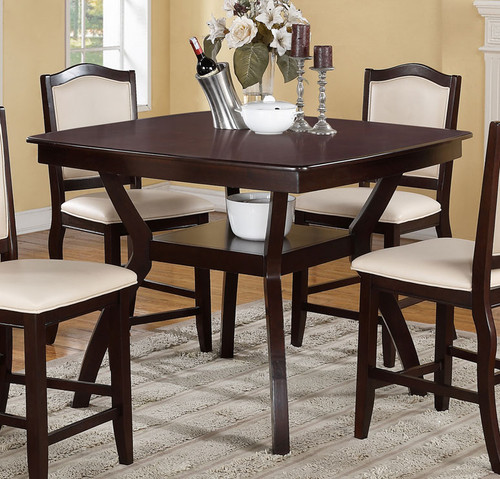 IMPERIAL DESIGN DARK BROWN COUNTER HEIGHT TABLE-F2291