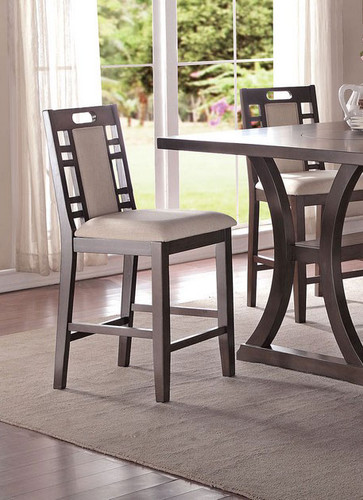 EARTHY GREY COUNTER HEIGHT CHAIR 2 PCS SET-F1390