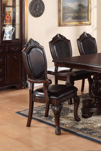 ASTOUNDING CARVED FLORAL ARM CHAIR 2 PCS SET-F1396