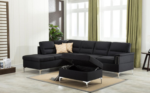 LARRY SECTIONAL AND OTTOMAN SET (Black)-LARRY-BLACK
