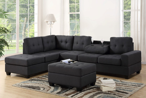 3 PCS HEIGHTS SECTIONAL With Dropdown Table And OTTOMAN SET GRAY-3HEIGHTS-GR