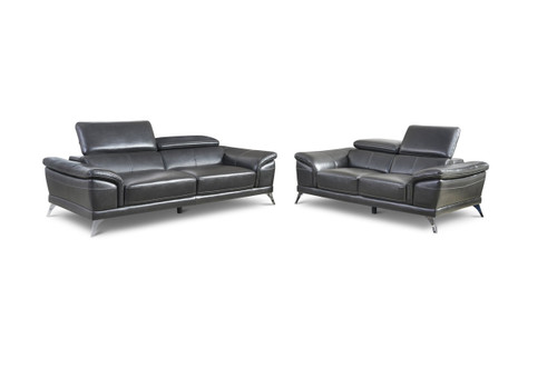 2PC VENICE MODERN SOFA AND LOVESEAT IN GRAY