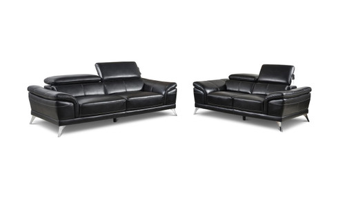 VENICE MODERN BLACK SOFA AND LOVESEAT 2PCS SET-Venice-Black