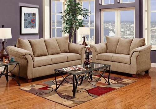 2PC LUCY SOFA AND LOVESEAT IN TAUPE-2000-Taupe