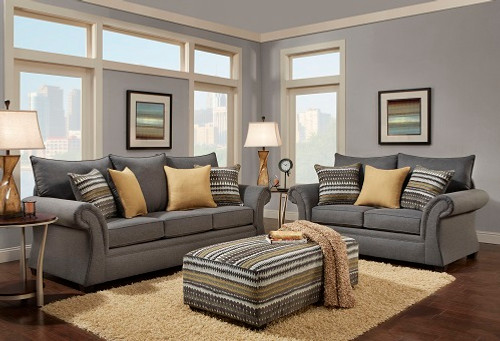 WASHINGTON GRAY SOFA AND LOVESEAT 2PCS SET - 1560-Gray