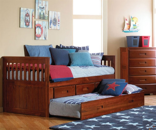 TWIN CAPTAIN BED W/TRUNDLE + 3 DRAWERS-2835